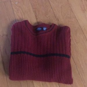 Mens XL Burgundy Cable Sweater